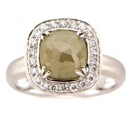 Gray-Green Rose Cut Diamond Ring