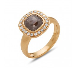 Rose Cut Gray Diamond Ring