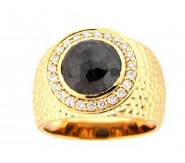 Black & White Diamond Wide Center Ring