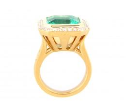 Emerald & Diamond Large Center Ring GIA Cert