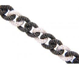 Black Spinel & White Sapphire Sterling Silver Bracelet