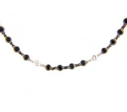 Black Spinel & White Sapphire 40 Chain