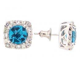 Blue Topaz & White Sapphire Earring