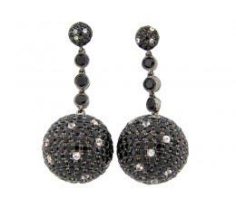 Black Spinel & White Sapphire Earring