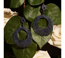 Sapphire Sunburst Earring