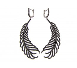 Black Spinel Feather Earring