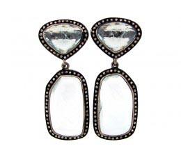 Aquamarine & Brown Diamond Earring