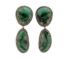 Emerald & Brown Diamond Earring