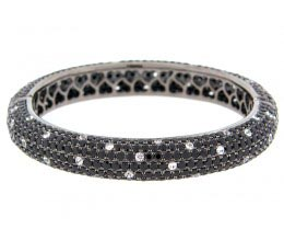 Black Spinel & White Sappire Bangle