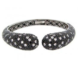 Black Spinel & White Sapphire Bangle