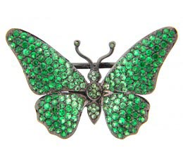 Tsavorite Pave Sterling Silver Broach
