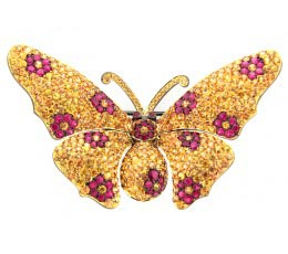 Yellow Sapphire & Ruby Broach
