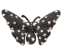 Black Spinel & White Sapphire Broach