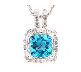 Blue Topaz & White Sapphire Pendant