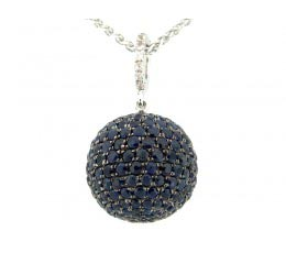 15MM Blue & White Sapphire Ball Pendant with an 18 Chain