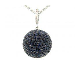 15MM Blue & White Sapphire Ball Pendant with an 18 Chain