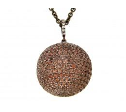 Brown Zircon & White Sapphire Ball Pendant