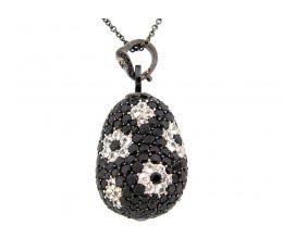 Black Spinel & White Sapphire Pendant