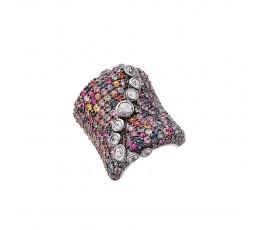 Rainbow & White Sapphire Ring