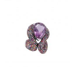 Amethyst & Rainbow Sapphire Ring