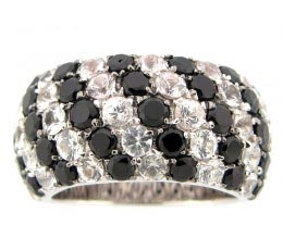 Black Spinel & White Sapphire Ring