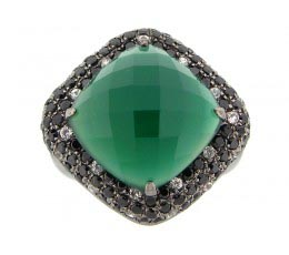 Green Agate, Black Spinel & White Sapphire Ring